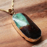 Natural Semi Precious Dragons Vein Green Agate Stone Gold Edged Pendant - Cherish Me Jewellery - Melbourne Australia