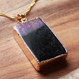 Natural Semi Precious Dragons Vein Pink Agate Stone Gold Edged Pendant - Cherish Me Jewellery - Melbourne Australia