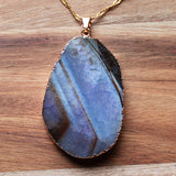 Natural Semi Precious Dragons Vein Purple Agate Stone Gold Edged Pendant - Cherish Me Jewellery - Melbourne Australia