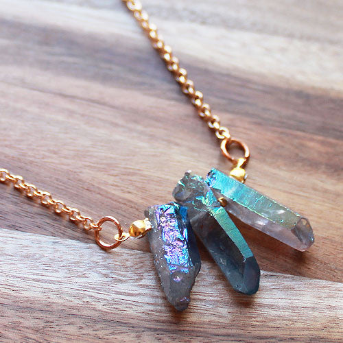 Gorgeous Semi Precious Gold and Natural 3 Aura Point Blue Quartz Pendant - Cherish Me Jewellery - Melbourne Australia
