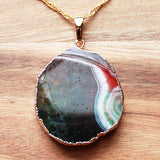 Natural Semi Precious Rainbow Agate Stone Gold Edged Pendant - Cherish Me Jewellery - Melbourne Australia