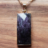 Natural Semi Precious Rectangle Shaped Purple Amethyst Stone Gold Edged Pendant - Cherish Me Jewellery - Melbourne Australia