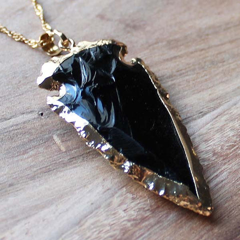 24K Gold Semi-Precious Natural Stone Rough Black Agate Arrowhead Pendant - Large - Cherish Me Jewellery - Melbourne Australia