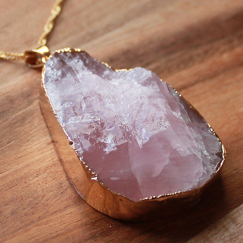 Natural Semi Precious Gold Edged Pink Rose Quartz Rough Cut Teardrop Stone Pendant - Cherish Me Jewellery - Melbourne Australia