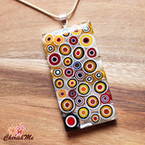 Millefiori Glass Rectangle Shaped Yellow, Red & White Pendant - Cherish Me Jewellery - Melbourne Australia