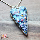Millefiori Glass Heart Shaped White, Blue, Red, Orange & Yellow Pendant - Cherish Me Jewellery - Melbourne Australia