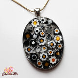 Millefiori Glass Oval Shaped Black, White & Yellow Pendant - Cherish Me Jewellery - Melbourne Australia