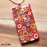 Millefiori Glass Rectangle Shaped Orange, Red, Yellow & White Pendant - Cherish Me Jewellery - Melbourne Australia