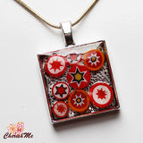 Millefiori Glass Square Shaped Red, Yellow & White Pendant - Cherish Me Jewellery - Melbourne Australia