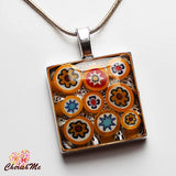 Millefiori Glass Square Shaped Yellow, Blue, Red & White Pendant - Cherish Me Jewellery - Melbourne Australia