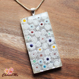Millefiori Glass Rectangle Shaped White Pendant - Cherish Me Jewellery - Melbourne Australia
