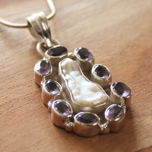 100% 925 Solid Sterling Silver Biwa Pearl and Purple Amethyst Semi Precious Natural Stone Pendant - Cherish Me Jewellery - Melbourne Australia