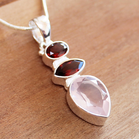 100% 925 Solid Sterling Silver Semi-Precious Pink Rose Quartz & Red Garnet Natural Stone Pendant