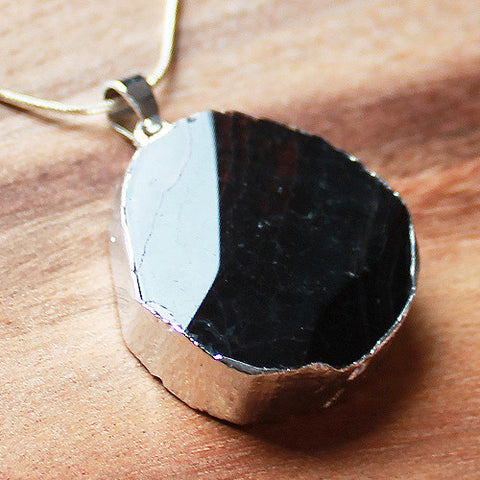 Natural Semi Precious Dragons Vein Black Agate Stone Silver Edged Pendant - Cherish Me Jewellery - Melbourne Australia