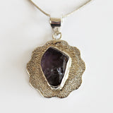 100% 925 Solid Sterling Silver Rough Cut Purple Amethyst Semi Precious Natural Stone Pendant - Cherish Me Jewellery - Melbourne Australia
