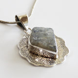 100% 925 Solid Sterling Silver Rough Cut Moonstone Semi Precious Natural Stone Pendant - Cherish Me Jewellery - Melbourne Australia