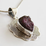 100% 925 Solid Sterling Silver Rough Cut Pink Tourmaline Semi Precious Natural Stone Pendant - Cherish Me Jewellery - Melbourne Australia