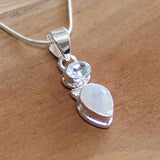 100% 925 Solid Sterling Silver Semi-Precious Moonstone and Blue Topaz Natural Stone Pendant