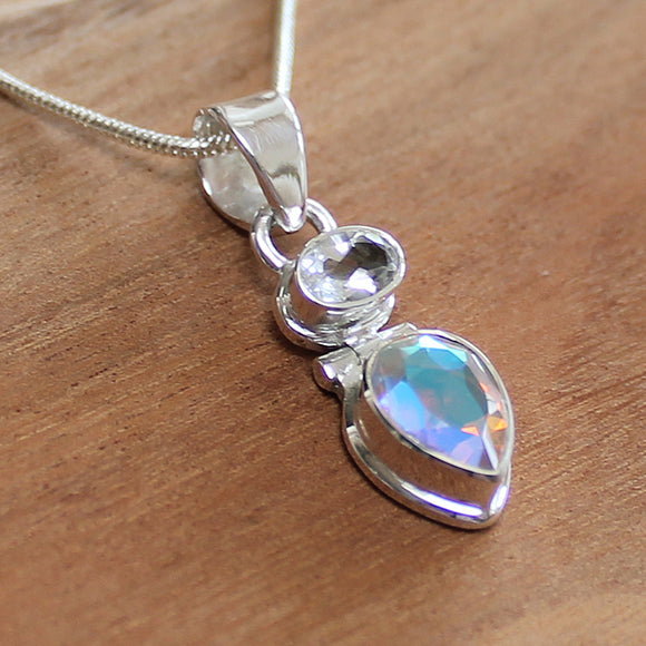100% 925 Solid Sterling Silver Semi-Precious Mystic Topaz and Clear Quartz Natural Stone Pendant