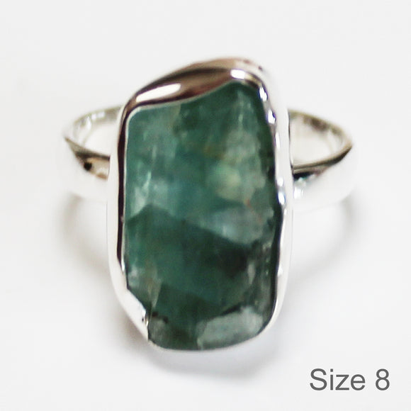 925 Solid Sterling Silver Rough Cut Green Fluorite Semi Precious Stone Ring