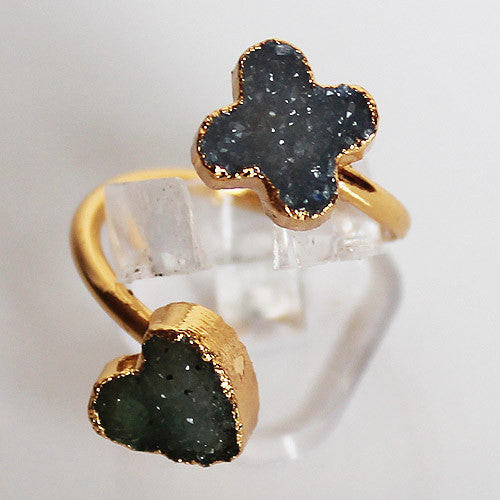 Semi-Precious Gold Druzy Heart and Flower Shaped Stone Ring - Adjustable Size
