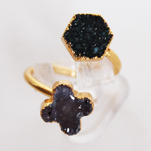 Semi-Precious Gold Druzy Flower and Hexagonal Shaped Stone Ring - Adjustable Size