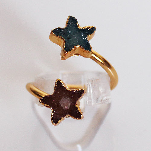 Semi-Precious Gold Druzy Star Shaped Stone Ring - Adjustable Size