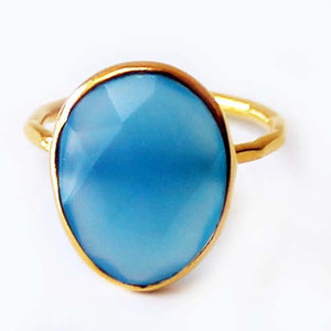 Faceted Semi-Precious Blue Chalcedony Natural Stone 18ct Gold Statement Ring - Size 6, 7, 8 - Cherish Me Jewellery - Melbourne Australia