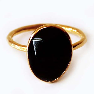 Faceted Semi-Precious Black Onyx Natural Stone 18ct Gold Statement Ring - Size 7, 8 or 9 - Cherish Me Jewellery - Melbourne Australia