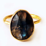 Faceted Semi-Precious Labradorite Natural Stone 18ct Gold Statement Ring - Size 7, 8 or 9 - Cherish Me Jewellery - Melbourne Australia