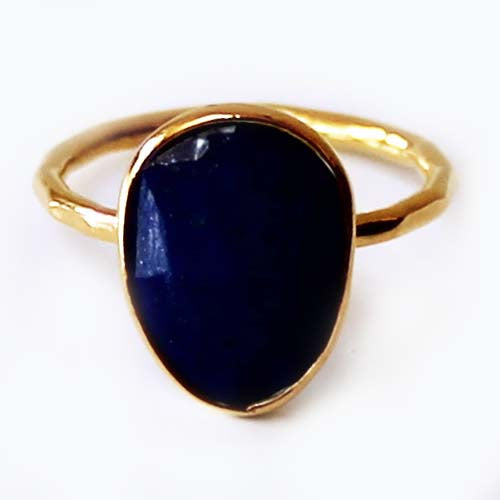 Faceted Semi-Precious Blue Lapis Lazuli Natural Stone 18ct Gold Statement Ring - Size 7, 8 or 9 - Cherish Me Jewellery - Melbourne Australia