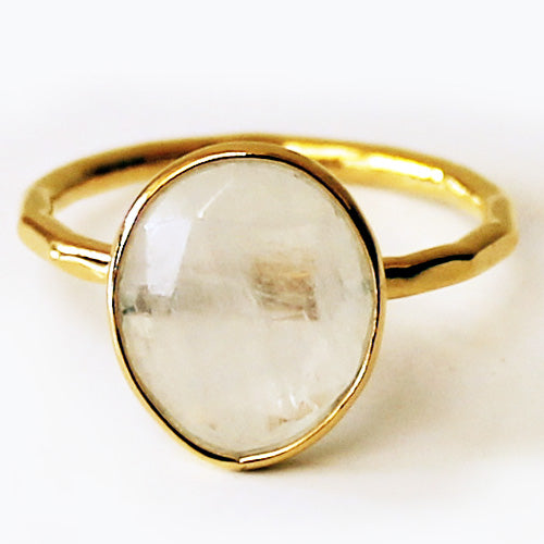 Faceted Semi-Precious Rainbow Moonstone Natural Stone 18ct Gold Statement Ring - Size 7, 8 or 9 - Cherish Me Jewellery - Melbourne Australia