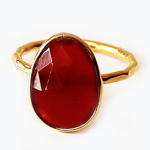 Faceted Semi-Precious Red Onyx Natural Stone 18ct Gold Statement Ring - Size 7, 8 or 9 - Cherish Me Jewellery - Melbourne Australia