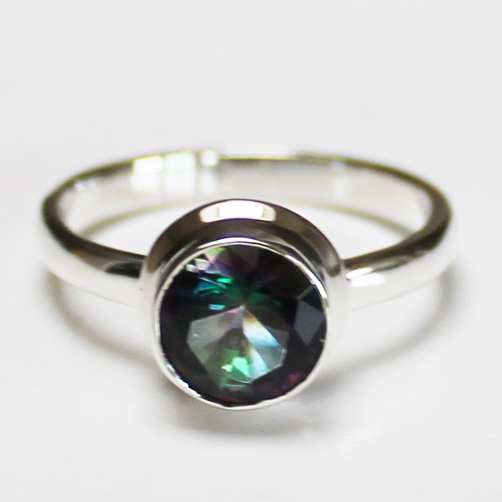 100% 925 Solid Sterling Silver D2 Faceted Mystic Topaz Stone Ring - Size 7, 8 or 9 - Cherish Me Jewellery - Melbourne Australia