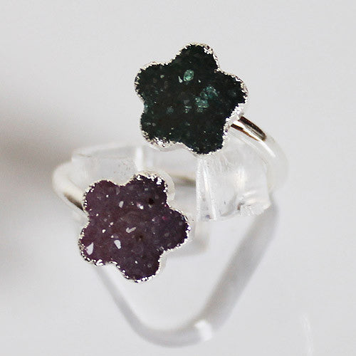 Semi-Precious Silver Druzy Flower Shaped Stone Ring - Adjustable Size