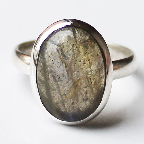 100% 925 Solid Sterling Silver Oval Labradorite Stone Ring - Size 7, 8 or 9 - Cherish Me Jewellery - Melbourne Australia