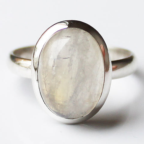 100% 925 Solid Sterling Silver Oval Moonstone Stone Ring - Size 8 - Cherish Me Jewellery - Melbourne Australia