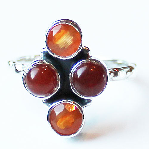 100% 925 Solid Sterling Silver Semi-Precious Rhombus Orange Carnelian Stone Ring - Size 7, 8 or 9 - Cherish Me Jewellery - Melbourne Australia