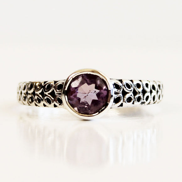 100% 925 Solid Sterling Silver Filigree Solitaire Purple Amethyst Gemstone Ring  - Size 7, 8, 9 or 10 - Cherish Me Jewellery - Melbourne Australia