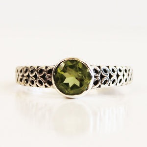 100% 925 Solid Sterling Silver Filigree Solitaire Peridot Gemstone Ring - Size 7, 8, 9 or 10 - Cherish Me Jewellery - Melbourne Australia