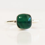 100% 925 Solid Sterling Silver Square Cabochon Green Onyx Gemstone Ring - Size 7, 8, 9 or 10 - Cherish Me Jewellery - Melbourne Australia