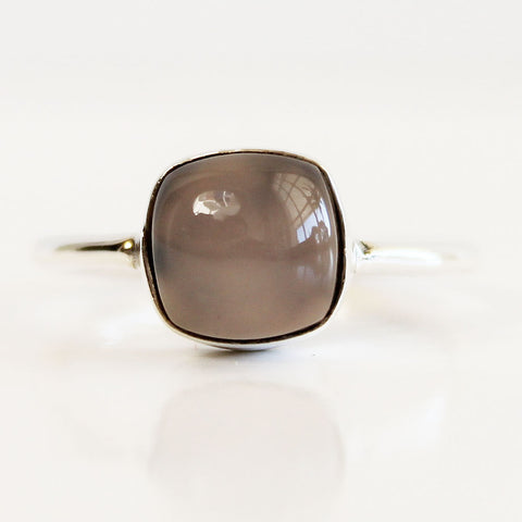 100% 925 Solid Sterling Silver Square Cabochon Pink Rose Quartz Gemstone Ring - Size 7, 8, 9 or 10 - Cherish Me Jewellery - Melbourne Australia
