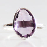 Faceted Semi-Precious Purple Amethyst Natural Stone Solid 925 Silver Statement Ring - Size 7, 8, 9 or 10 - Cherish Me Jewellery - Melbourne Australia