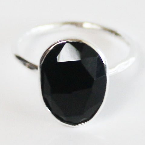 Faceted Semi-Precious Black Onyx Natural Stone Solid 925 Silver Statement Ring - Size 7, 8, 9 or 10