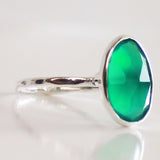 Faceted Semi-Precious Green Onyx Natural Stone Solid 925 Silver Statement Ring - Size 7, 8, 9 or 10 - Cherish Me Jewellery - Melbourne Australia