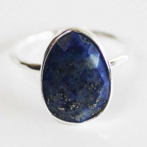 Faceted Semi-Precious Blue Lapis Lazuli Natural Stone Solid 925 Silver Statement Ring - Size 7, 8, 9 or 10
