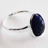 Faceted Semi-Precious Blue Lapis Lazuli Natural Stone Solid 925 Silver Statement Ring - Size 7, 8, 9 or 10 - Cherish Me Jewellery - Melbourne Australia