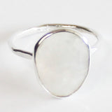 Faceted Semi-Precious Rainbow Moonstone Natural Stone Solid 925 Silver Statement Ring - Size 7, 8, 9 or 10 - Cherish Me Jewellery - Melbourne Australia