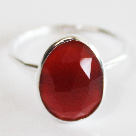 Faceted Semi-Precious Red Onyx Natural Stone Solid 925 Silver Statement Ring - Size 7, 8, 9 or 10 - Cherish Me Jewellery - Melbourne Australia