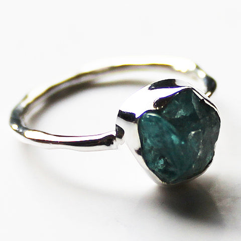 100% 925 Solid Sterling Silver Rough Blue Apatite Stone Ring - Sizes 7, 8 or 9 - Cherish Me Jewellery - Melbourne Australia